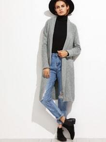 Veste longue col châle en œillet - gris