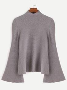 Grey Mock Neck Bell Sleeve Jersey Sweater