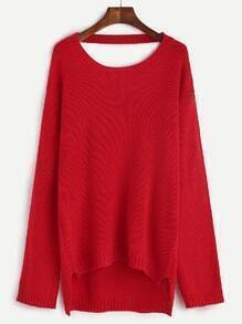 Jersey asimétrico con abertura en cuello y gargantilla - rojo