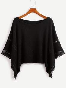 Pull poncho en crochet contrasté avec frange - noir