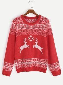 Jersey con diseño navideño -rojo