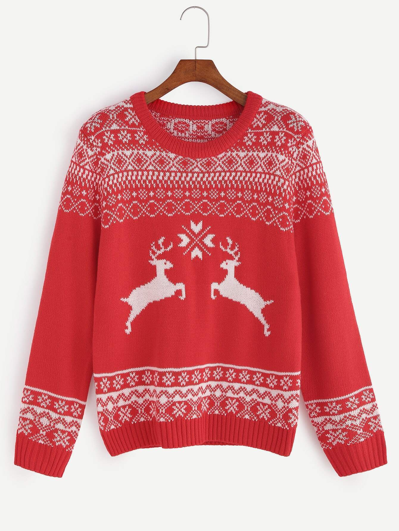 Red Ribbed Trim Ugly Christmas Sweater