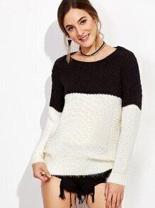 Pull tricoté mélangé contrasté