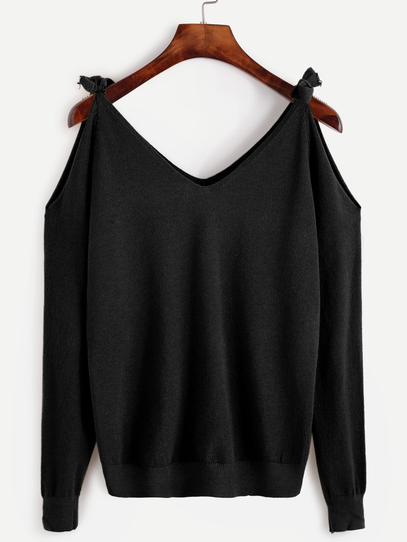 Black Tie Cold Shoulder Sweater