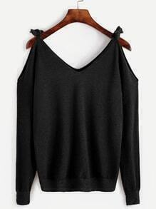 Cut-Outs Pullover Schleife-schwarz