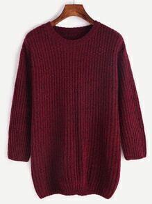 Pull tricoté marné 3/4 manche - bordeaux