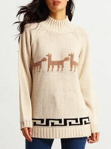 Apricot Long Sleeve Deer Print Sweater