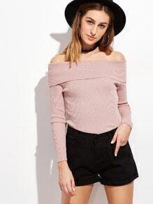 Jersey con hombros al aire - rosa