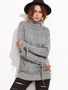 Pull tricoté col roulé poignet avez lacet - gris