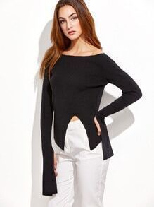 Black Slim Fit Oversized Sleeve Sweater With Slit Detail