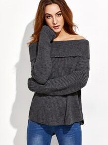 Dark Grey Drop Shoulder Two Way High Low Sweater