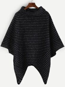 Striped Turtleneck Asymmetric Poncho Sweater