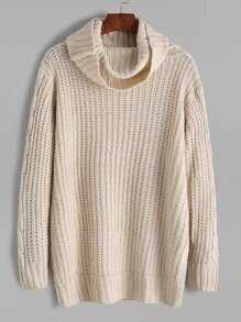Apricot Cable Knit Turtleneck Sweater
