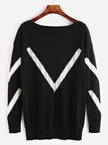 Black Contrast Panel Drop Shoulder Sweater