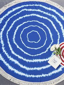 blau gedruckten fringe trim runde beach.
