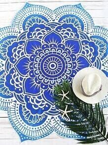 Blue Printed Lotus Flower Shape Beach Blanket