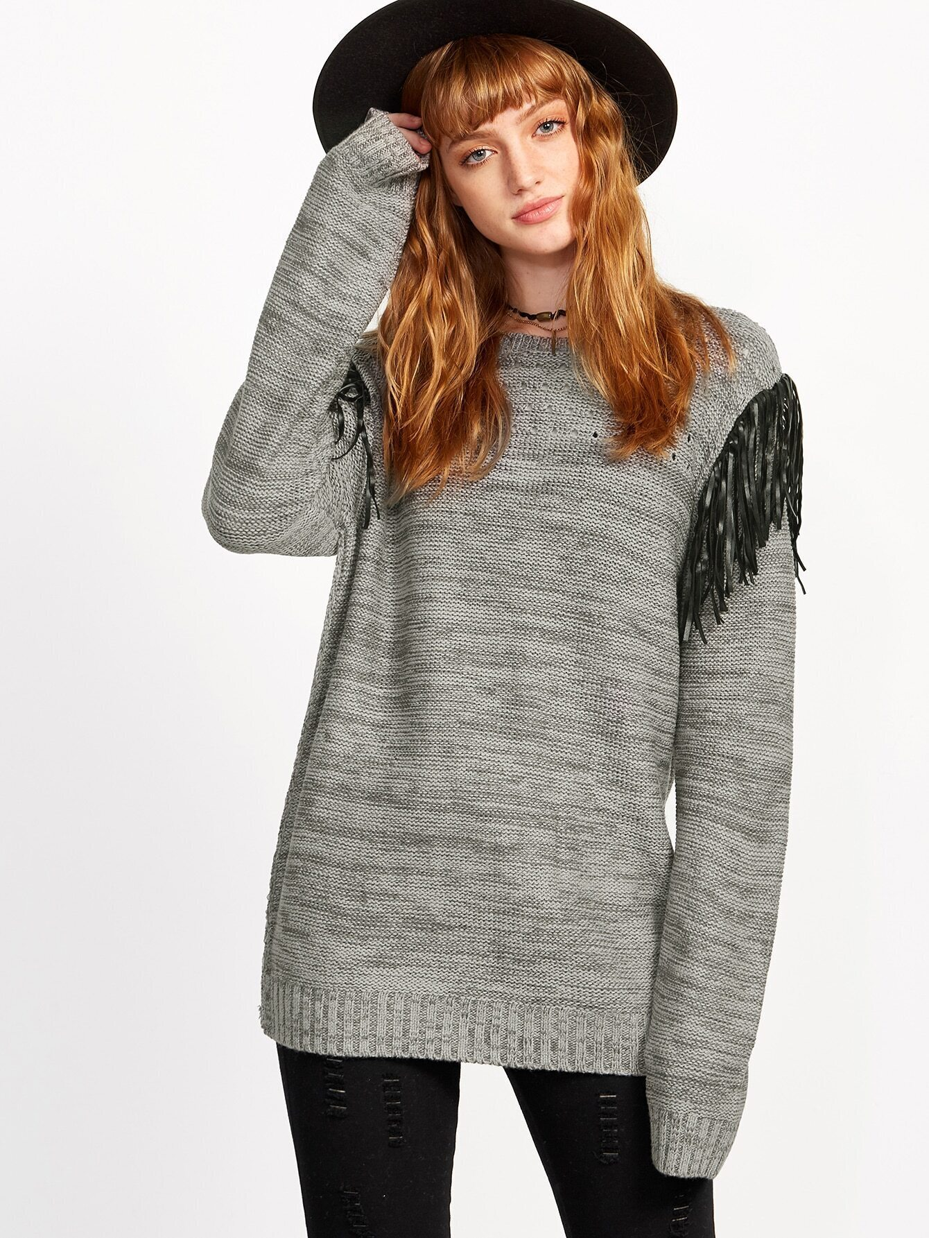 Grey Marled Knit Fringe Trim Eyelet Sweater