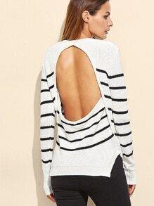 Jersey a rayas con abertura en espalda - blanco