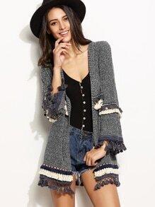 Veste tricoté en broderie avec frange - gris