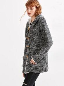 Grey Marled Knit Faux Shearling Neckline Duffle Sweater Coat