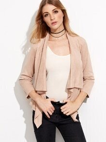 Pink Shawl Collar Zip Detail Suede Coat