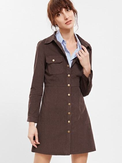 Brown Button Front Coat With Pockets