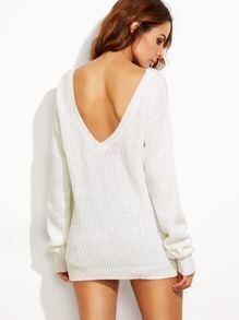 Jersey espalda V hombro drapeado - blanco