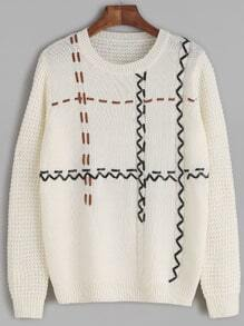 Jersey cuero del faux manga larga - blanco