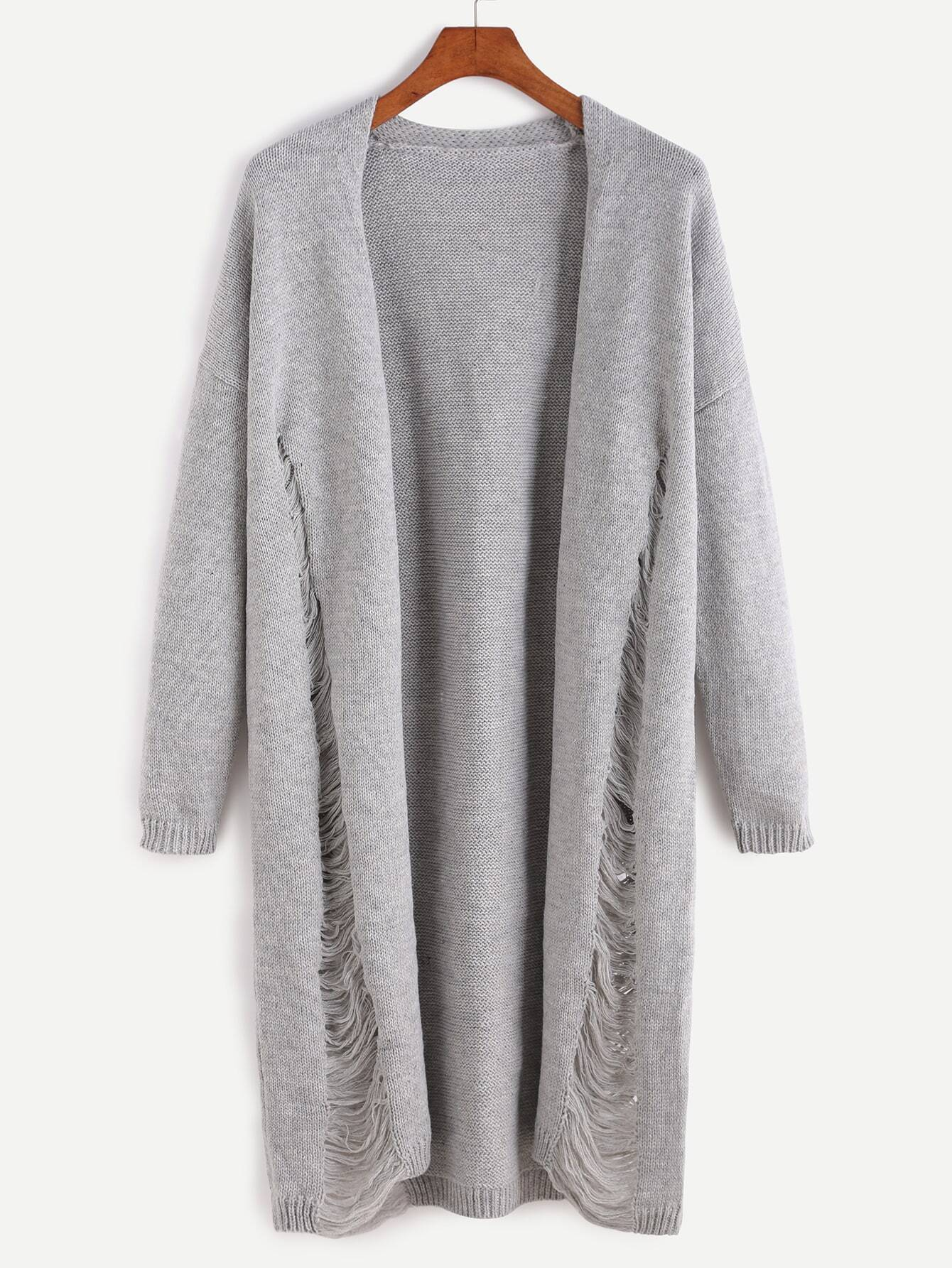 Grey Drop Shoulder Open Front Ripped Back Sweater Coat