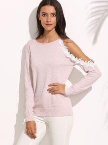 Camiseta tejida corte encaje manga larga - rosa claro