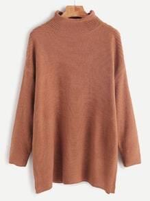 Jersey con cuello mock hombro caído - marrón