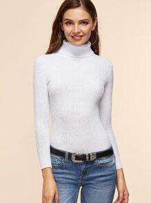 Jersey con cuello vuelto - blanco
