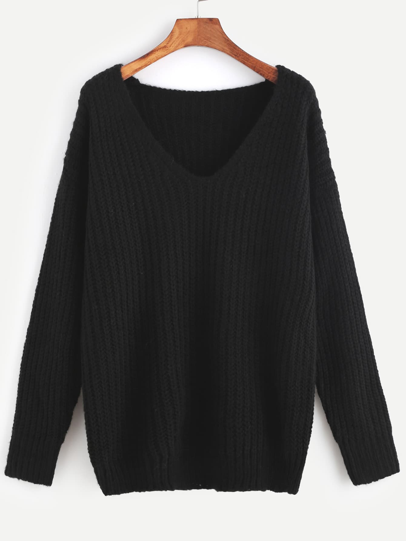 Black Ribbed Knit V Neck Drop Shoulder Sweater