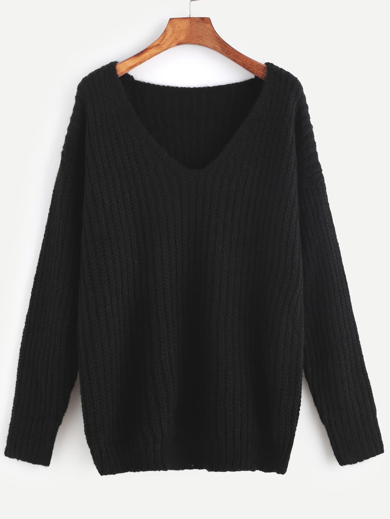 Black Ribbed Knit V Neck Drop Shoulder Sweater