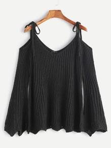 Black Ribbed Cold Shoulder Bell Sleeve Scallop Sweater