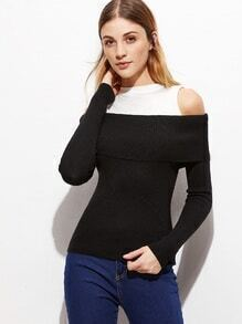 Contrast Open Shoulder Jersey Sweater