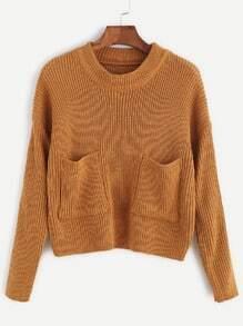 Khaki Drop Shoulder Pocket Front Sweater