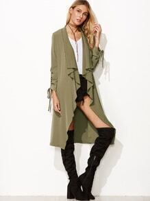 Army Green Waterfall Collar Drawstring Sleeve Coat