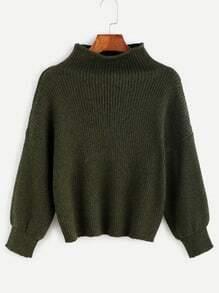 Pull tricoté à nervures effet déchiré - vert olive