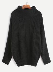 Jersey de punto trenzado con cuello vuelto - negro