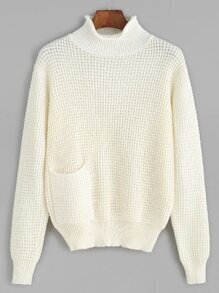 White Waffle Knit Sweater With Pocket