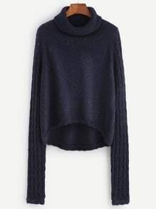 Jersey asimétrico con cuello vuelto - azul marino