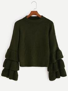 Olive Green Layered Ruffle Sleeve Sweater