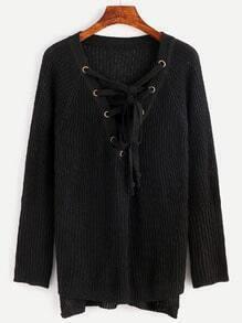 Jersey asimétrico con cordones - negro