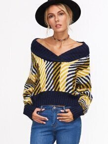 gestreifet kurze Pullover V-Ausschnitt-bunt