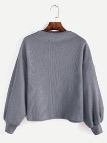 Jersey de canalé con manga farol - gris