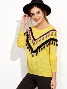Jersey con hombro caído y flecos - amarillo