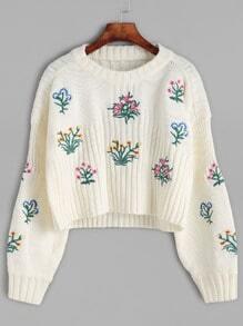 Jersey corto con bordado de flor - beige