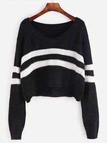 Jersey corto con rayas - negro