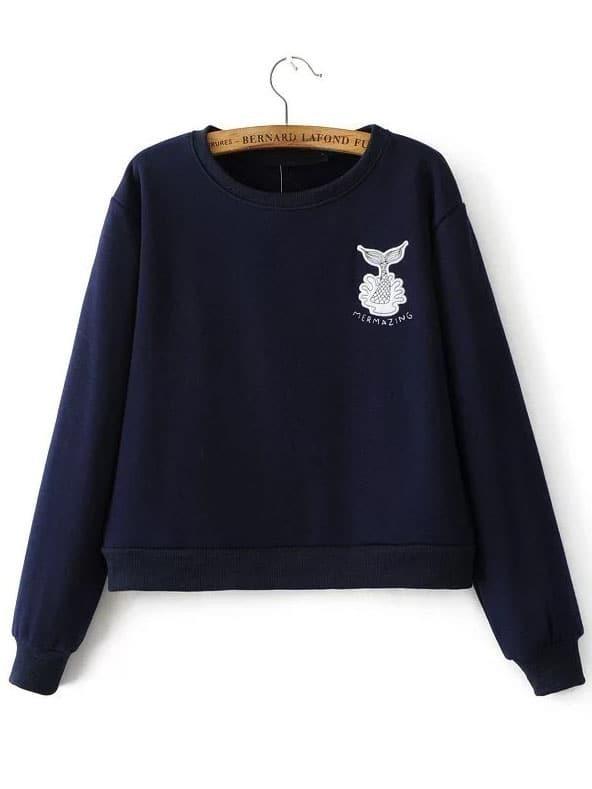Navy Mermaid Embroidery Ribbed Trim Sweatshirt